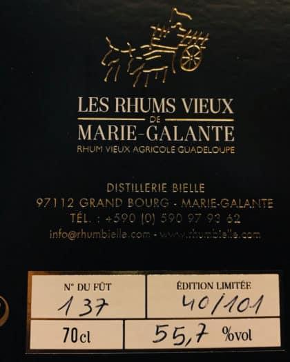 Rhum Bielle Les Rhums Vieux De Marie Galante 10 Ans d'Age Single Cask Brut de Fut 2005 Fut 137