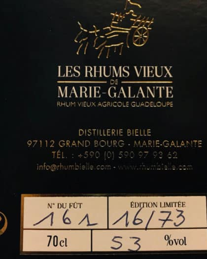 Rhum Bielle Les Rhums Vieux De Marie Galante 10 Ans d'Age Single Cask Brut de Fut 2005 Fut 161