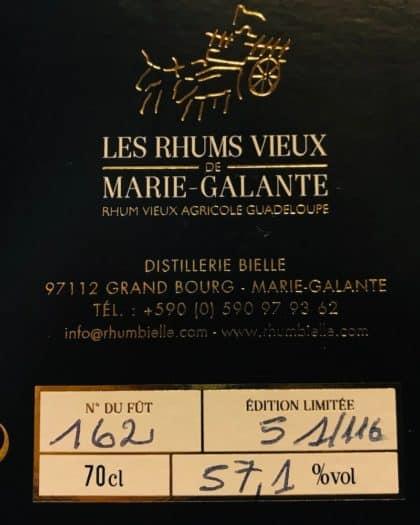 Rhum Bielle Les Rhums Vieux De Marie Galante 10 Ans d'Age Single Cask Brut de Fut 2005 Fut 162