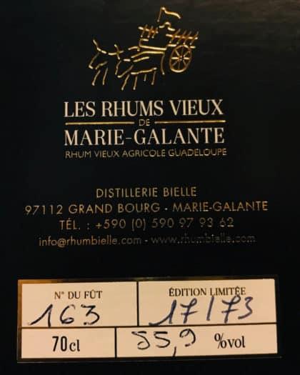 Rhum Bielle Les Rhums Vieux De Marie Galante 10 Ans d'Age Single Cask Brut de Fut 2005 Fut 163