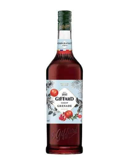 Pomegranate syrup. Pure sugar syrup made from concentrated pomegranate juice and natural pomegranate flavor. Fruity with a slight floral hint. Light bitterness and acidity typical of the fruit.